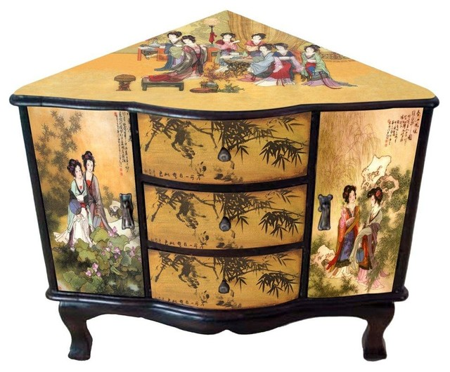 Enchanted Ladies Corner Cabinet - Traditional - Side Tables And End Tables - by Oriental Furniture