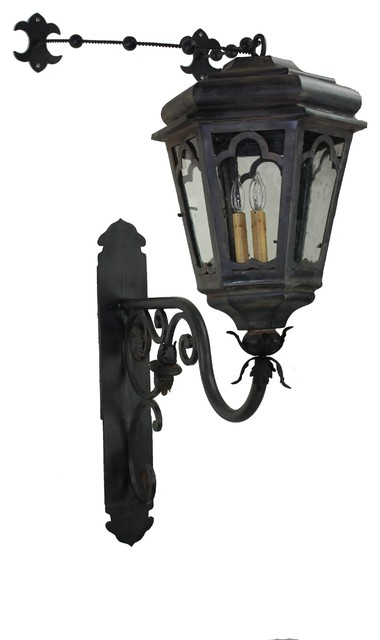 Custom Metal Wall Sconces : Custom Exterior Iron Lights - Mediterranean - Wall Sconces - san diego - by Hacienda Lights and Iron