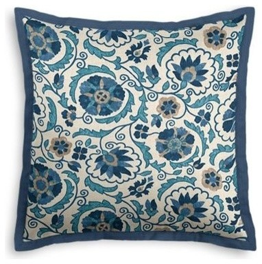 Eclectic Pillow Cases : Blue and Beige Suzani Custom Euro Sham - Eclectic - Pillowcases And Shams - by Loom Decor