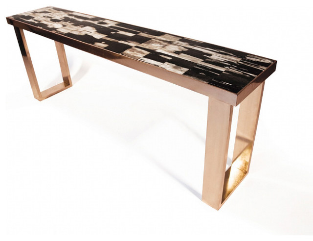 Petrified Wood Console Modern Side Tables And End Tables By Hudson Furniture Inc
