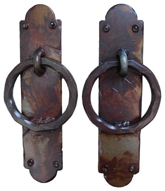 Palermo Iron Garage Door Handles, Rust Finish - Rustic - Door Knockers - by da Vinci Details