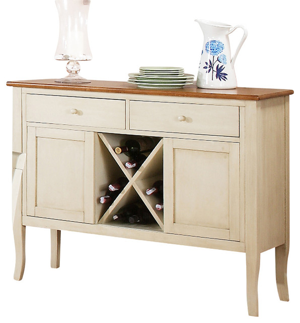 Steve Silver Candice Server With Wine Storage, Oak and White - Farmhouse - Buffets And ...