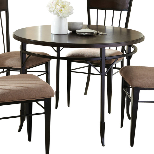Steve silver martin dining table in espresso with black for Traditional dining table bases