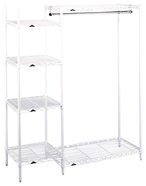 open garment rack w side shelf tower