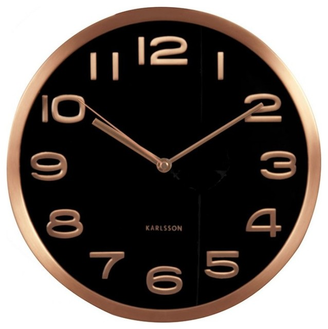 maxie copper numbers wall clock black contemporary