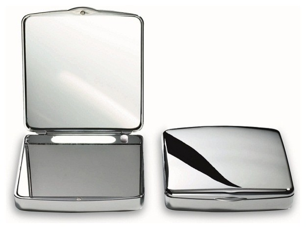 small led lighted double sided chrome travel pocket mirror. Black Bedroom Furniture Sets. Home Design Ideas