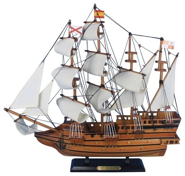 """Wooden Spanish Galleon Tall Model Ship, 20"""" - Beach Style - Decorative Objects And Figurines ..."""