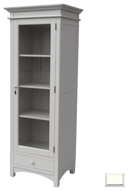 Coastal Mission Tall Boy Cupboard, White - Farmhouse - China Cabinets And Hutches - by Custom ...