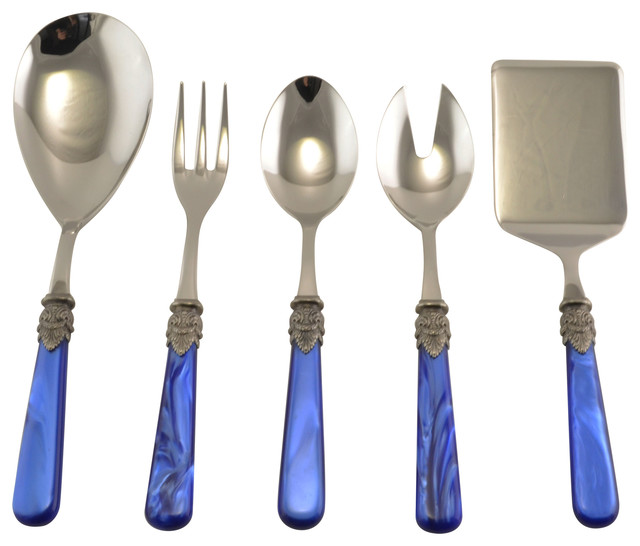 Napoleon 5 Piece Hostess Set Blue Modern Flatware And Silverware Sets By Arvindgroup