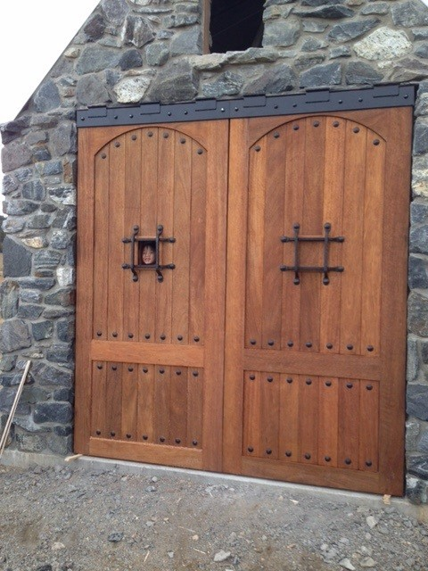Rustic Mahogany 240 Door with Button Clavos, Easy Speak Window and Grill