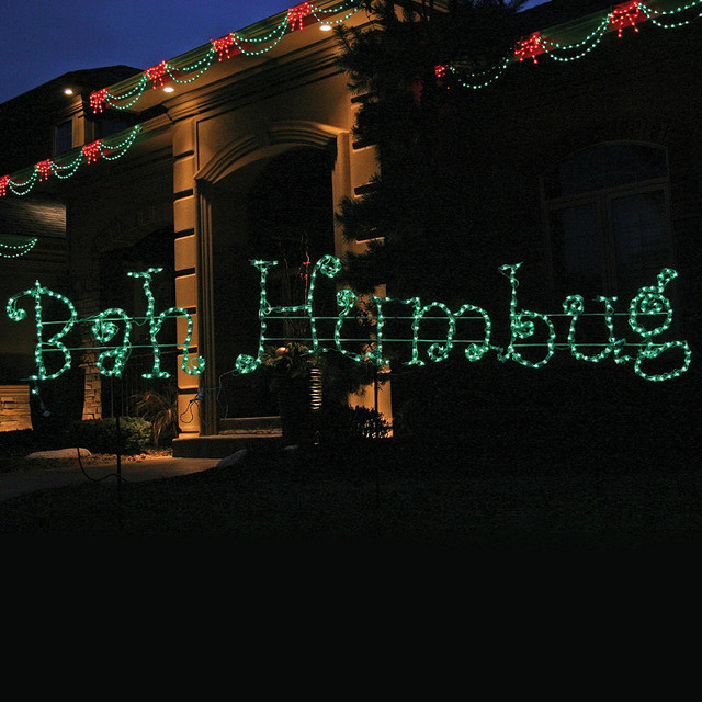 Lighted bah humbug 12 ft sign traditional outdoor Traditional outdoor christmas decorations