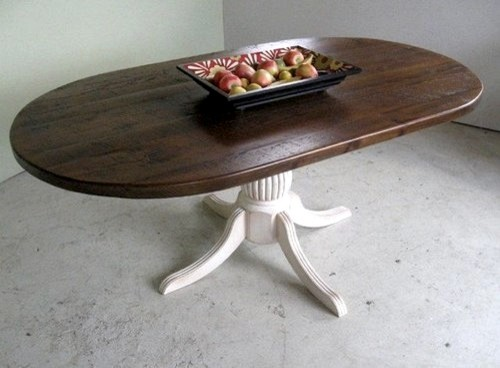 Oval racetrack table with fluted pedestal farmhouse for Oval pedestal dining table