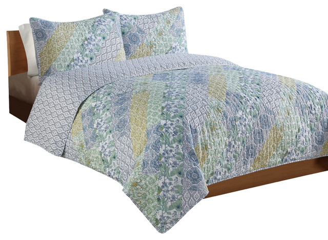 Purple Yellow Patchwork Full/Queen Quilt With 2 Shams