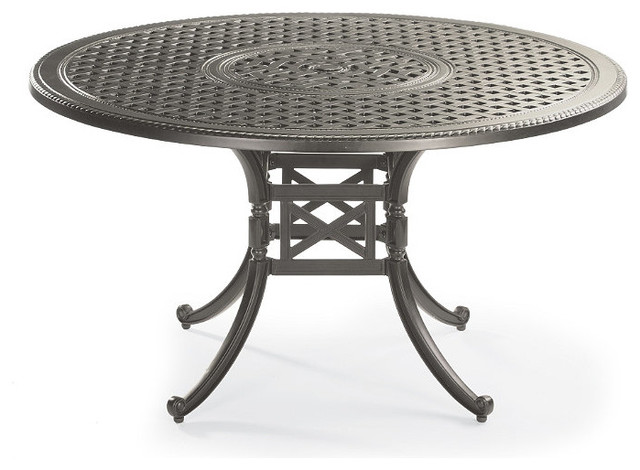 Round Cast Top Dining Table In Slate Finish Contemporary Dining Tables