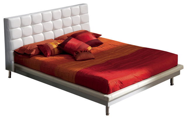 Toledo 603 King Size Bed W Wooden Frame White Modern Platform Beds By Sohomod