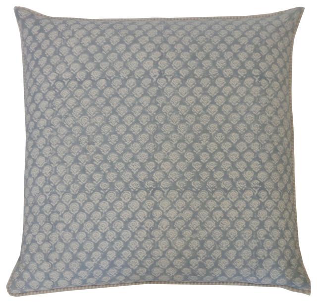 Smokey Blue Throw Pillows : Mini Poppy Springs Smokey Blue Pillow - Contemporary - Decorative Pillows - by Jiti