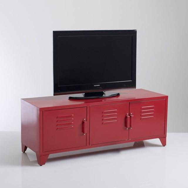 meuble tv acier style indus 3 portes hiba contemporain solution m dia et meuble tv par. Black Bedroom Furniture Sets. Home Design Ideas