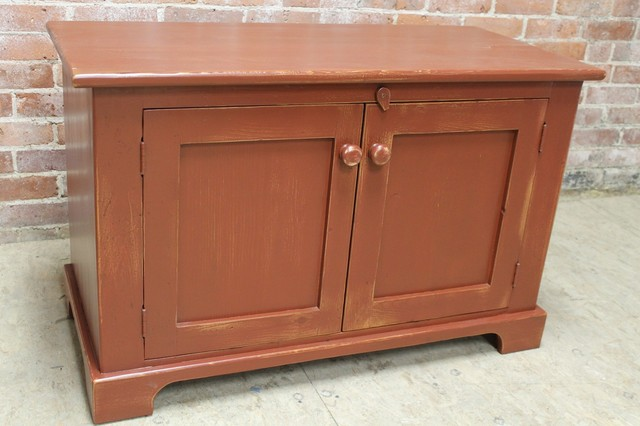 Small 2 Door Cabinet In Salem Red From Reclaimed Barn Wood