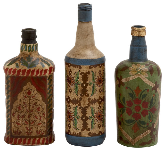 Glass Painted Bottles 3 Piece Set Contemporary Decorative Jars And Urns