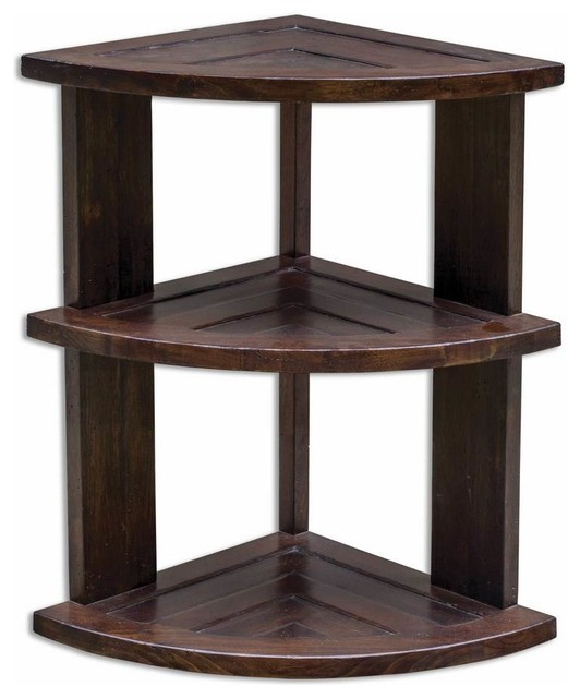 """Teak Root Coffee Table Canada: Uttermost Claro 15"""" Triangle Hickory Accent Table In Brown"""