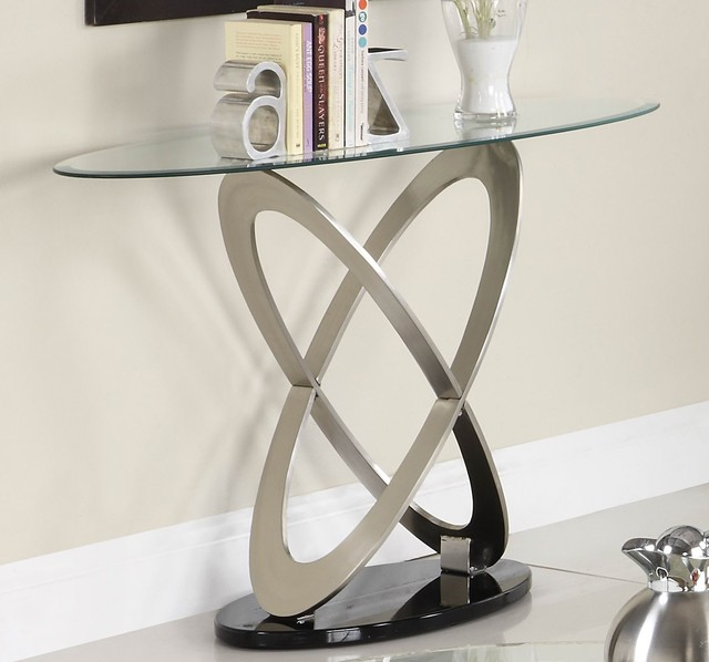 Homelegance firth oval glass sofa table in chrome black