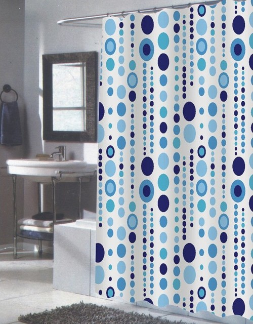 ... Blue and White Fabric Shower Curtain - FS contemporary-shower-curtains