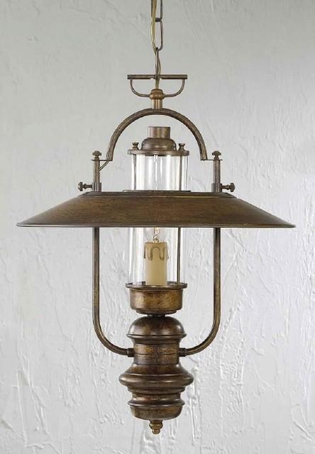 Fredeco rustic pendant lantern traditional pendant for Houzz rustic lighting