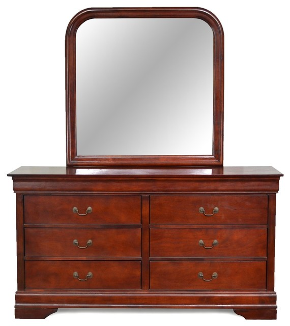 Louis Philippe Cherry 6 Drawer Dresser & Mirror - Traditional - Dressers - by CTC Furniture Inc.