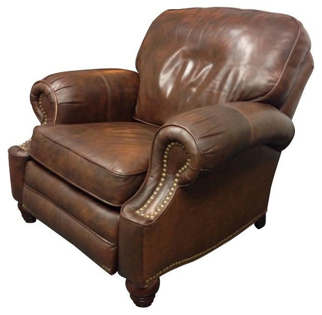 Classic Leather Reclining Club Chair - Traditional ...