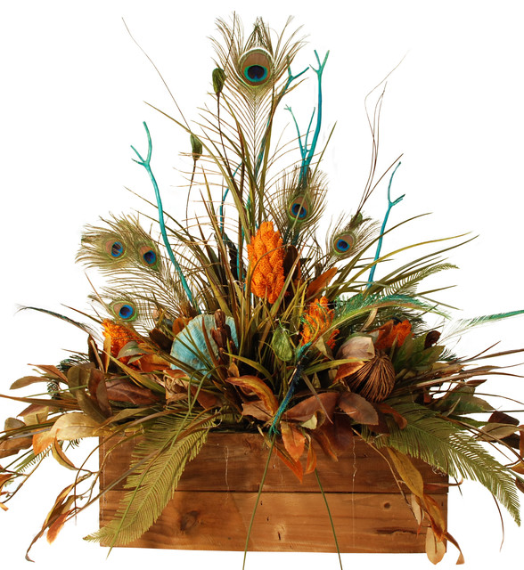 Large floral in wooden box with peacock feathers rustic artificial flower arrangements by for Arrangement floral artificiel