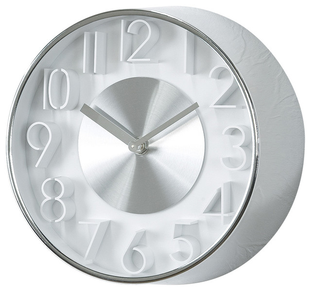 Edge wall clock sophistication 8quot silver modern wall for Silver wall clocks modern