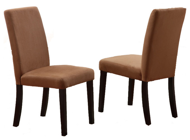 Set Of 2 Parson Dining Chairs Microfiber Covered Seat