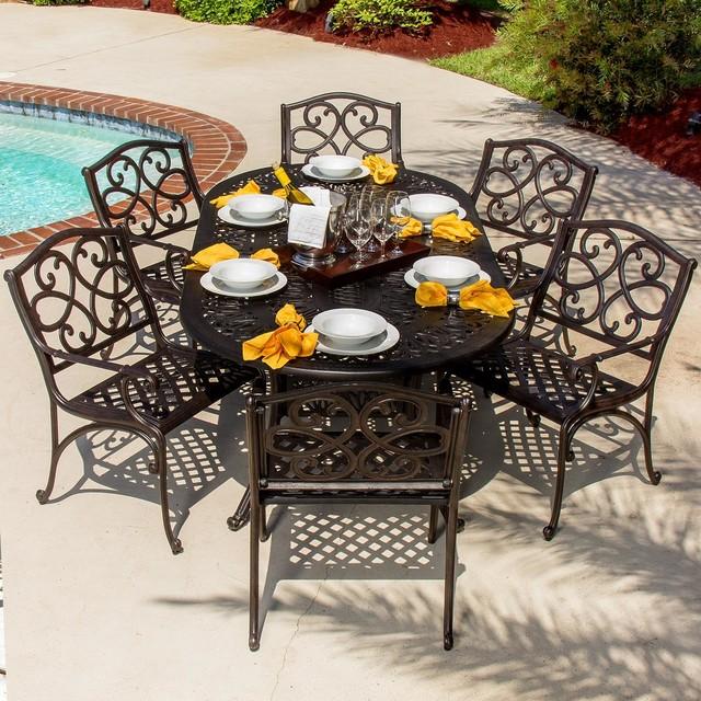 Savanna 6 Person Cast Aluminum Patio Dining Set Modern Outdoor Dining Set