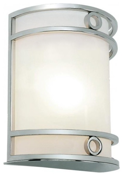 Transitional Chrome Wall Sconces : One Light Polished Chrome Frosted Glass Wall Light - Transitional - Wall Sconces - by We Got Lites