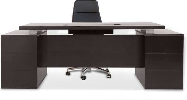 Ford Executive Desk with Cabinets - Dark Wood - Contemporary - Desks ...
