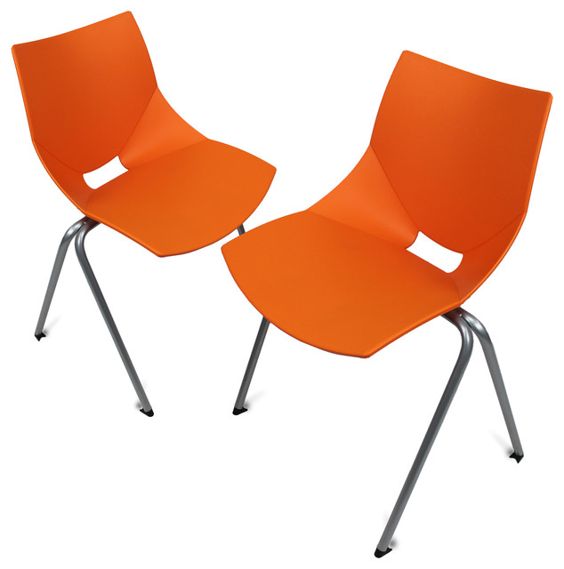 Shell Outdoor Chair Set of 2 Orange Contemporary Garden Dining Chairs