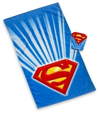 Superman Bath Towel And Wash Mitt Set Contemporary