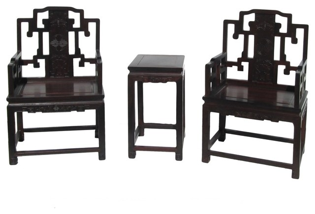 Chinese Red Rosewood Carved Armchair Set Asian Living