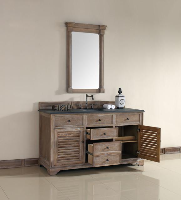 60 Inch Savannah Driftwood Grey Single Sink Vanity Beach Style Bathroom Vanities And Sink