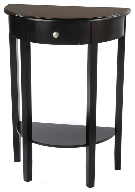 Half Moon Round Hall Table With Drawer Contemporary