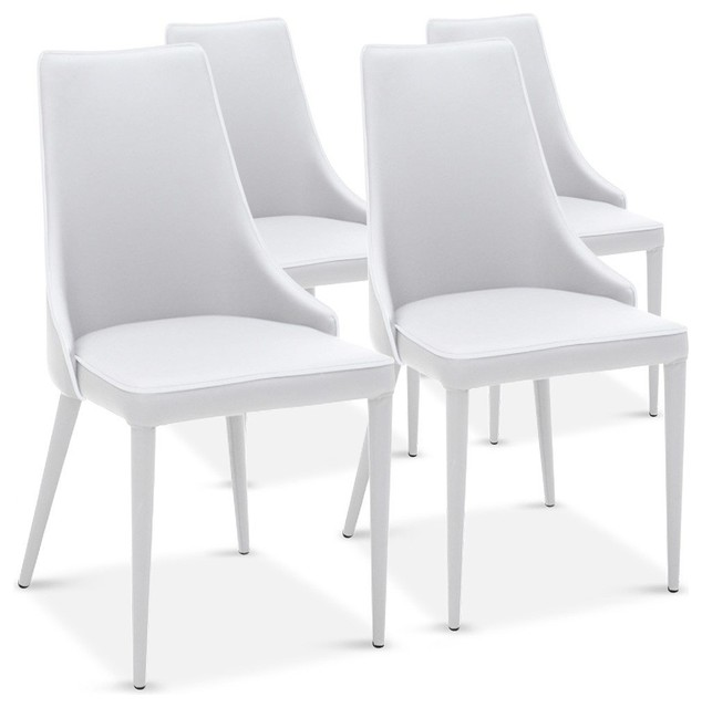 Lot de 4 chaises drogo blanches design contemporain for Chaise design de salle a manger