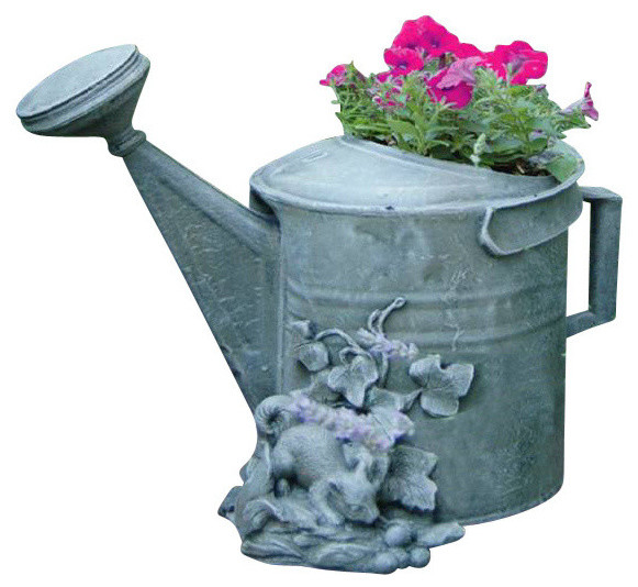 Water Can Planter Moss Traditional Outdoor Pots And