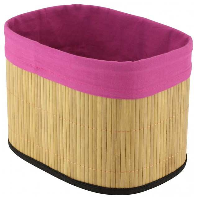 Bamboo Storage Basket, Pink - Tropical - Baskets - by AGM Home Store