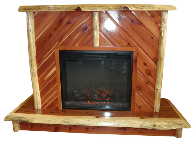 cedar log fireplace with electric insert rustic indoor fireplaces