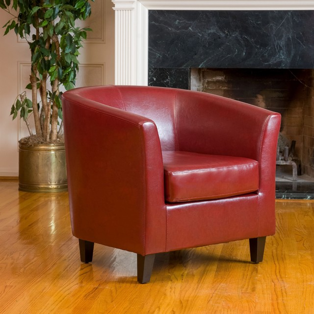 Small Red Leather Accent Chair: Christopher Knight Home Oxblood Red Bonded Leather Tub