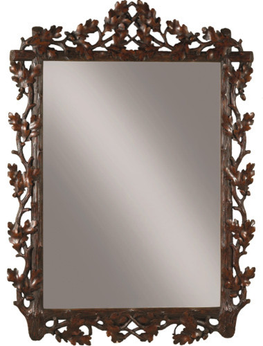 large oak leaf bevel mirror rustic wall mirrors by