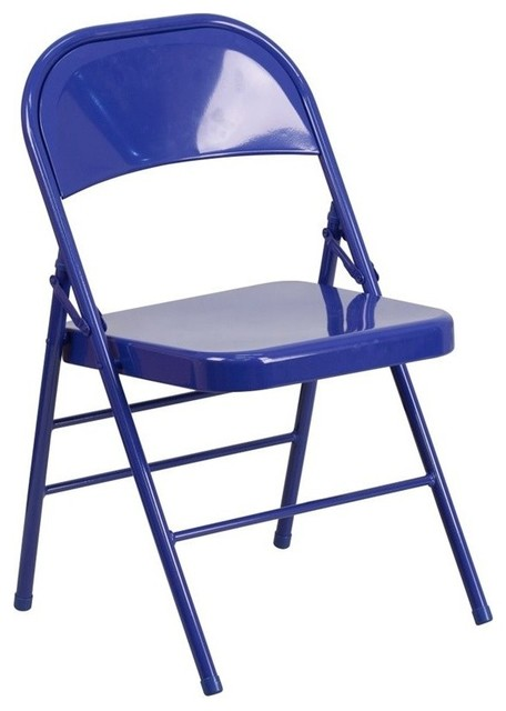 Triple Braced Double Hinged Metal Folding Chair Blue Craftsman Folding C
