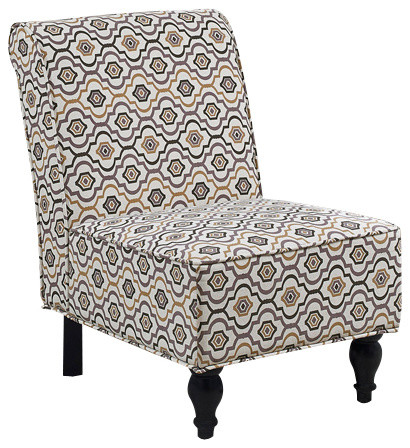 Earth Tone Fabric Traditional Accent Chair Transitional