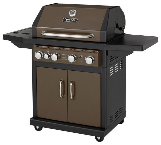 4 burner gas bbq grill with side burner and electronic for Modern barbecue grill