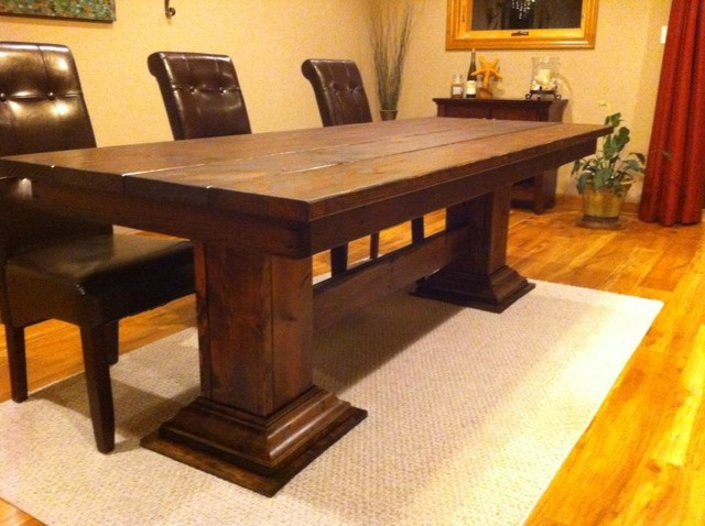 Double Pedestal Leg Table Eclectic Dining Tables